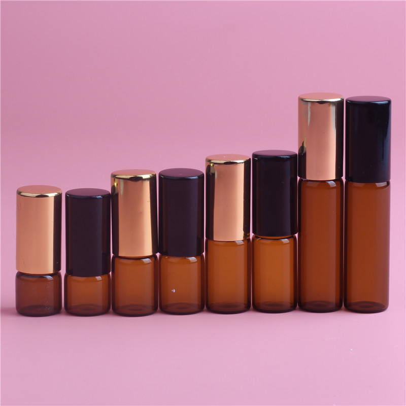 Beauty & Health ... Skin Care Tool ... 32798832641 ... 2 ... 5pcs 1ML 2ML 3ML 5ML Amber Roll On Roller Bottle for Essential Oils Refillable Perfume Bottle Deodorant Containers with Gold lid ...