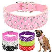 Thời trang Jeweled Thạch Pet Dog Collars Sparkly Pha Lê Diamonds Studded PU Leather Cổ Áo Cho Vừa & Lớn Chó Pitbull