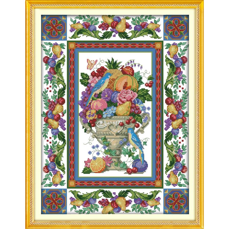 Everlasting love Gorgeous fruit bowl Chinese cross stitch kits Ecological cotton Fabric 11 CT DIY christmas decorations for home