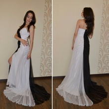 Robe De Roiree Long Chiffon Evening Dresses with Split Black and White Evening Gowns Anxia Formal Prom Party Dress Custom Size