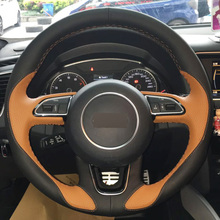 DG Hand-stitched Car Steering Wheel Cover Orange Black Leather for Audi Q3 Q5 2013 2014 2015