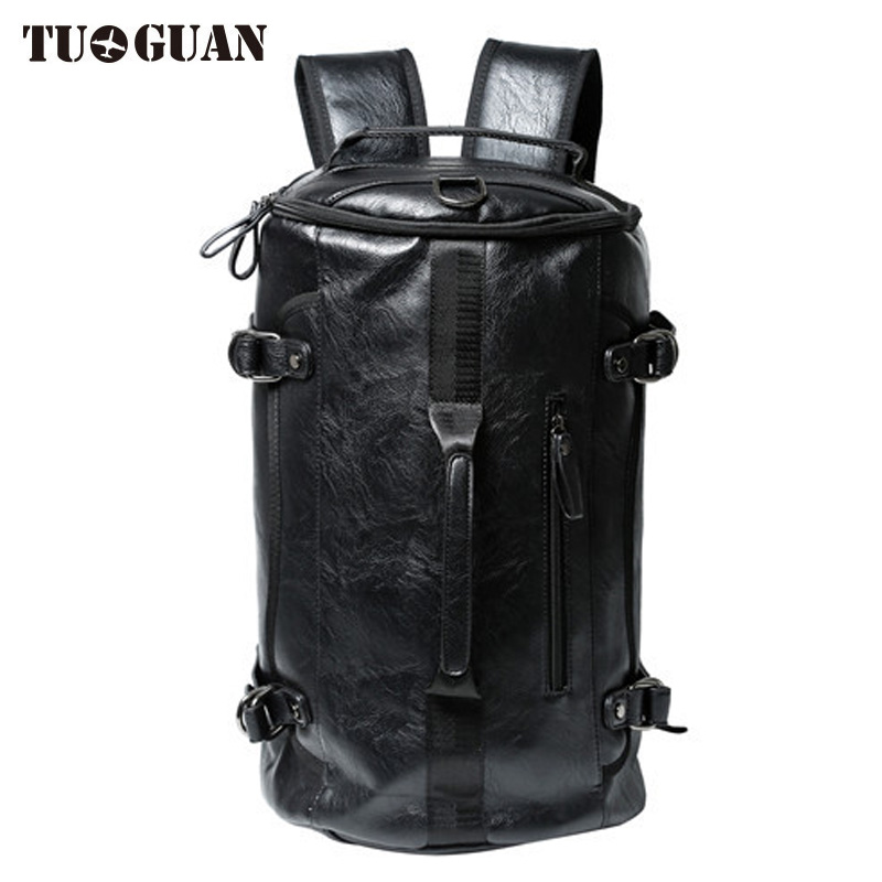 TUGUAN Men PU Leather Large Capacity Travelling Backpacks Travel Laptop Bag Waterproof Back Pack Bagpack Package Drop Shipping