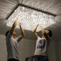 Простые современные СВЕТОДИОДНЫЕ Прямоугольный теплый гостиная зал кристаллический светильник атмосферное роскошь 1 м 1.2 фары потолочный
