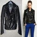 Fábrica de diseño de ropa de cuero genuino delgado párrafo corto femenino de la zalea de la motocicleta da vuelta-abajo chaqueta de cuero real