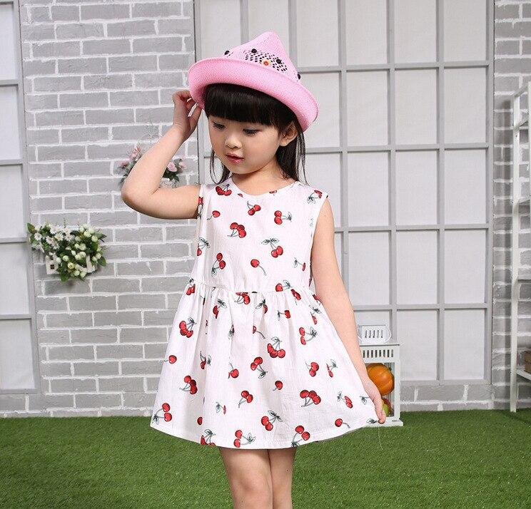61656e40617cb 2019 New Korean Fashion Cute Baby Girl Dress Toddler Girls Summer Wear with  Print Flower Sleeveless Mini Vestido Outfits 3-8T