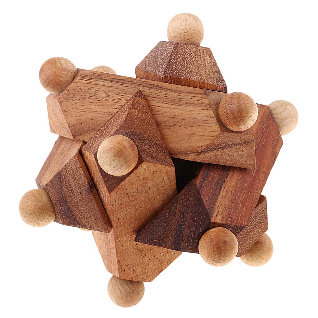 Classic Wooden Kong Ming Lock 3D Puzzle Intelligence IQ Brain Game Riddle Brain Teaser Educational Toys Gift for Children Adults