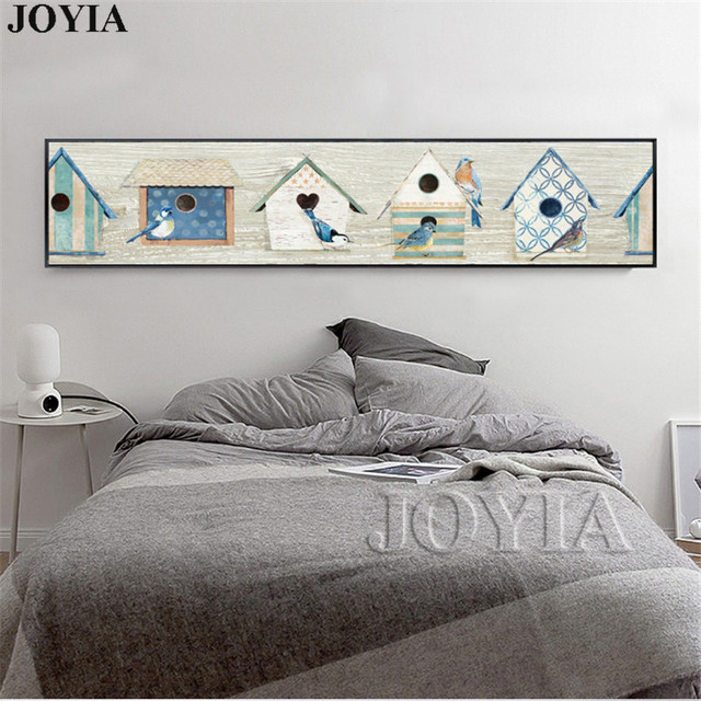 Bird House Large Canvas Wall Art Bedroom Long Size Decor Painting Abstract Board Birds Picture Poster & Bird House Large Canvas Wall Art Bedroom Long Size Decor Painting ...