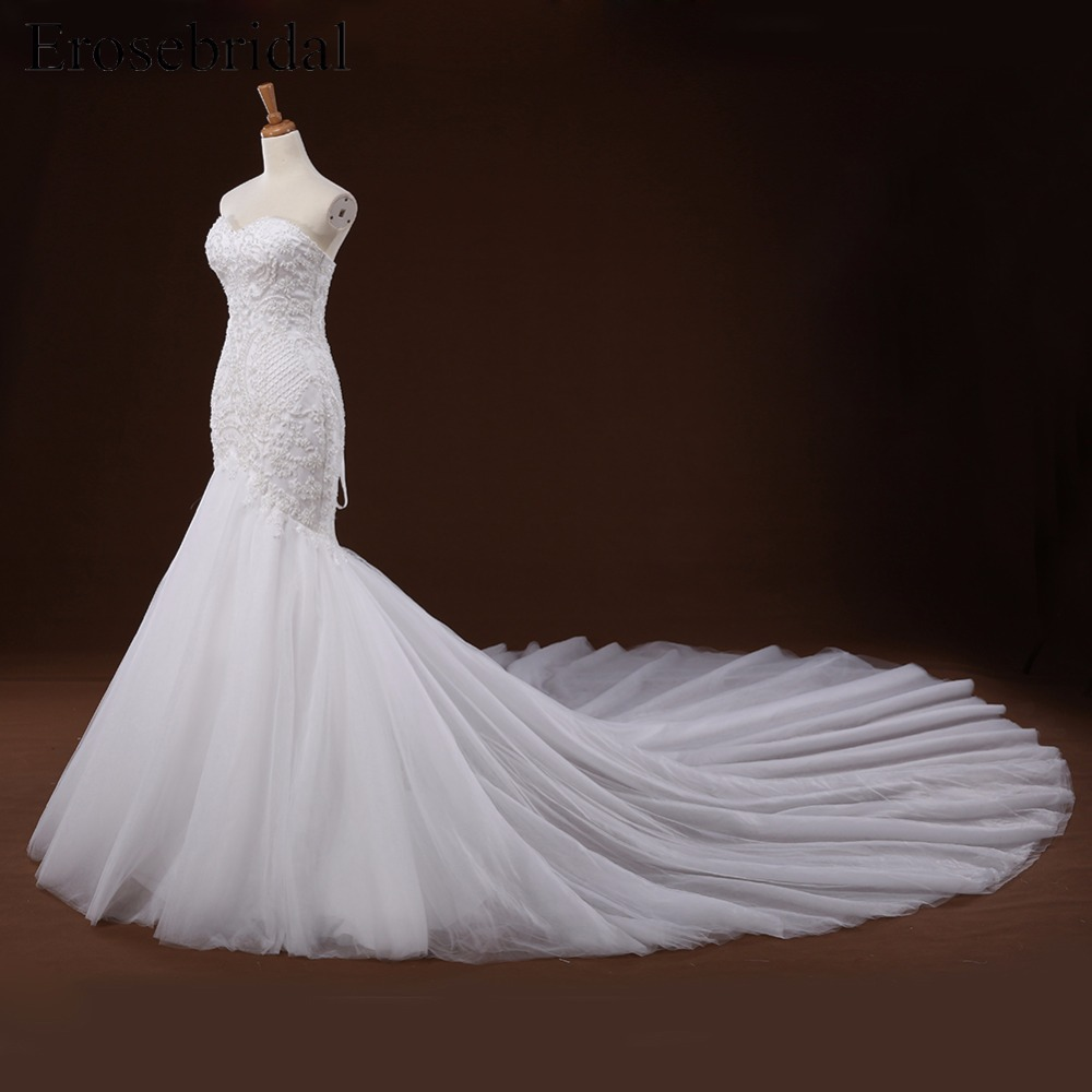 Sweetheart Appliques Beaded Long Train Mermaid Lace Up Back Wedding Dress