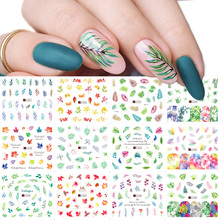 12pcs Green Leaf Nail Decals Set Water Transfer Stickers Manicure Sliders Wraps Tattoo Nail Art Decorations Designs TRA1549 1560