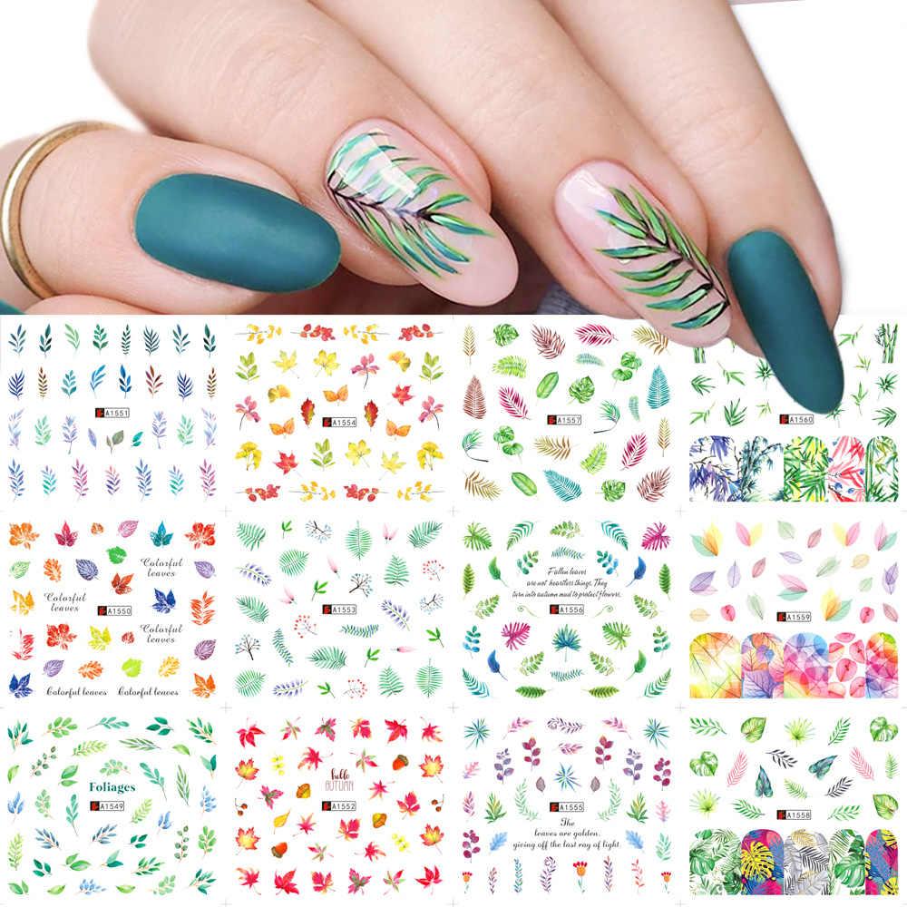 12pcs สีเขียวใบเล็บสติ๊กเกอร์ชุดสติ๊กเกอร์เล็บ Sliders Wraps TATTOO Nail Art ตกแต่ง Designs TRA1549-1560