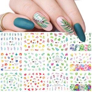 Image 1 - Ensemble de décalcomanies pour ongles, feuilles vertes, transferts à leau, 12 pièces, autocollants de manucure, tatouage, Nail Art, modèles TRA1549 1560