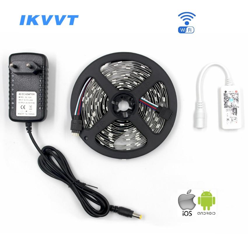 IKVVT 15M 10M 5M 5050 RGB WIFI LED Strip light 30leds/m rgb led Ribbon Tape Remote WIFI Wireless Controller 12V adapter Full Kit