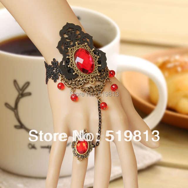66b98e2bd9ce B513 Steampunk pulseras vampiro encaje negro pulseras pulseras de la  joyería venta al por mayor Vintage vampiro gótico moda pulsera joyas stock