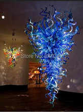 лучшая цена Free Shipping AC Led Lobby Blue Colored Glass Art Hand Blown Pendant Lighting