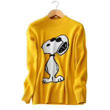 3 colors 100% cashmere sweater dog character O-neck long sleeve knitting pullovers women's winter/autumn clothing