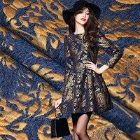 145x50cm Retro Palace Flower Style Metallic Jacquard Brocade Fabric 3D Jacquard Yarn Dyed Fabric For Womens