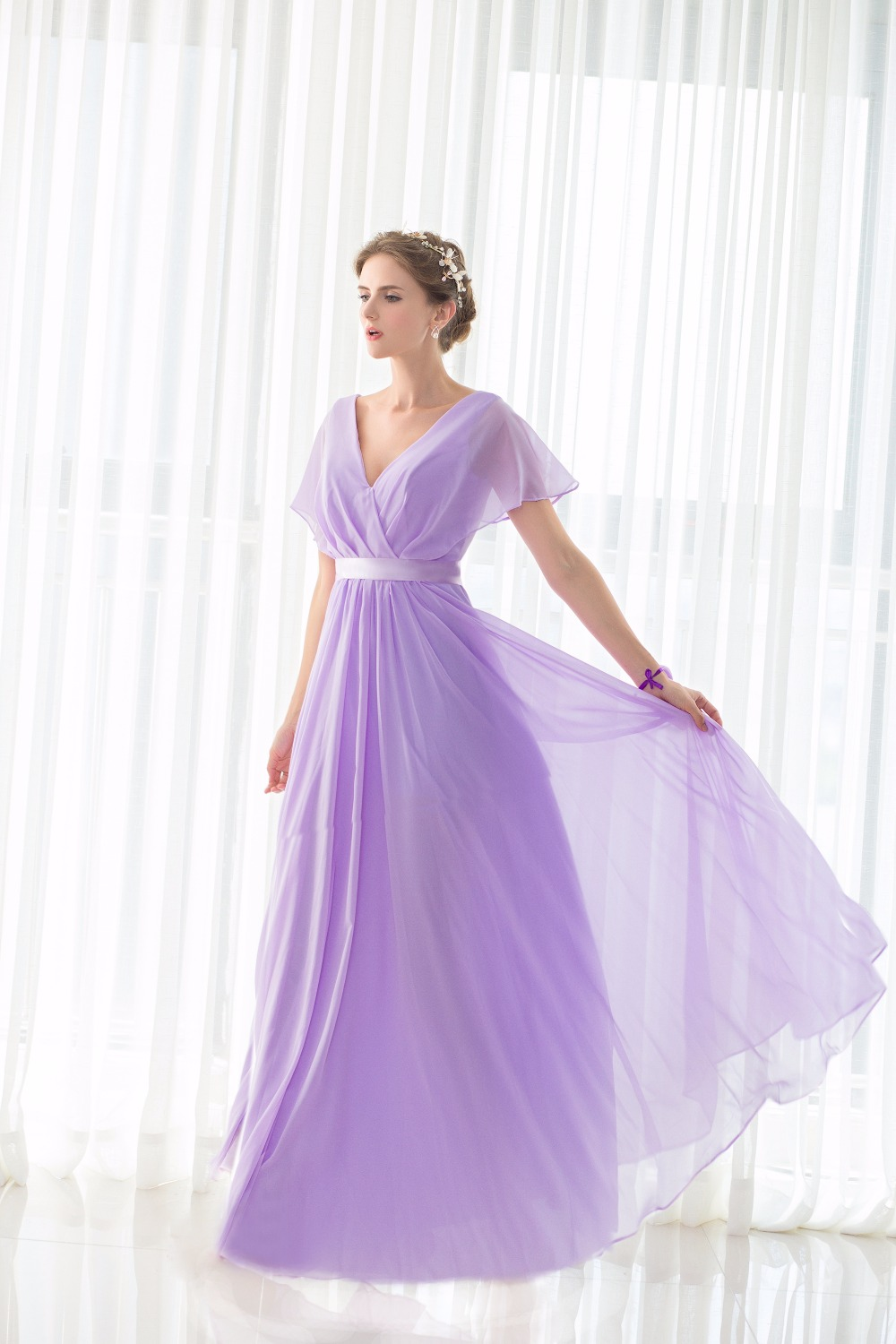 Lilac Short Sleeves V Neck Floor Length Chiffon Bridesmaid Dress