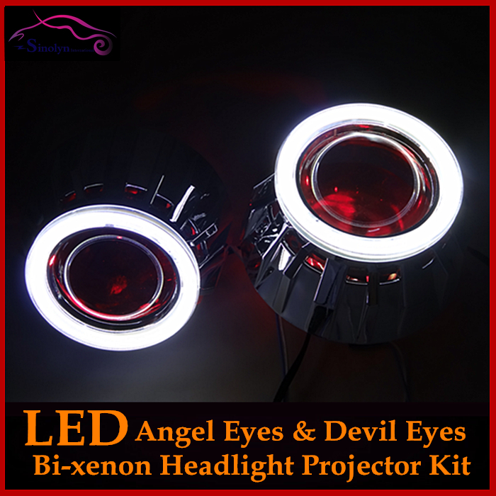 2 5 HID Bixenon Lens Projector Headlight Kit With LED Angel Eyes Halo LED Devil Eyes
