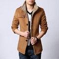 Azul de outono único breasted casaco de lã homens casaco masculino casaco estilo britânico M 6XL
