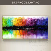 Free Shipping Artist Hand-painted Abstract Colorful Wall Artwork Hand-painted Abstract Landscape Lake Oil Painting Lake Pictures