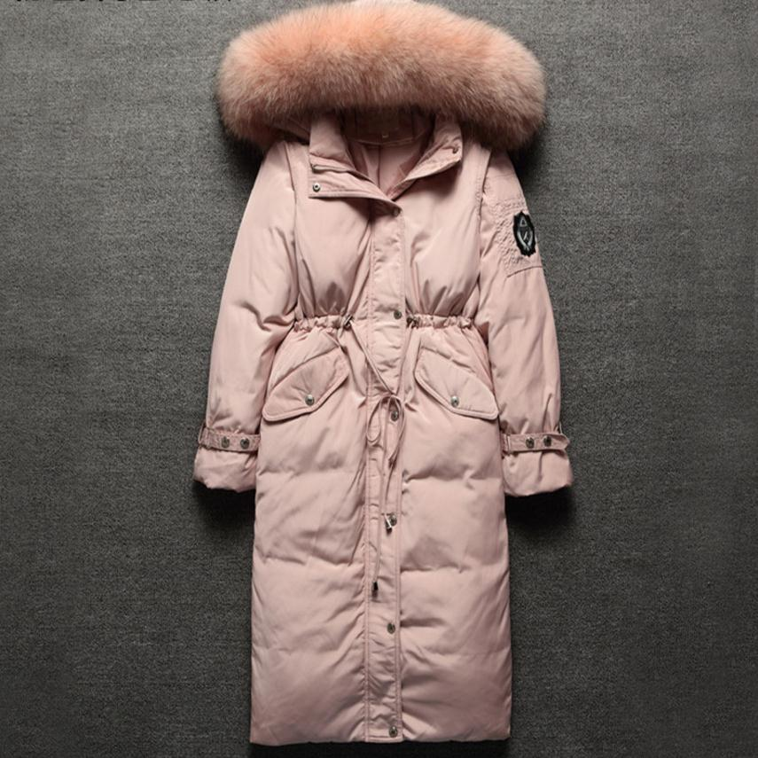 Winter fashion brand good quality big real fur collar duck down coat female zipper stitching hooded
