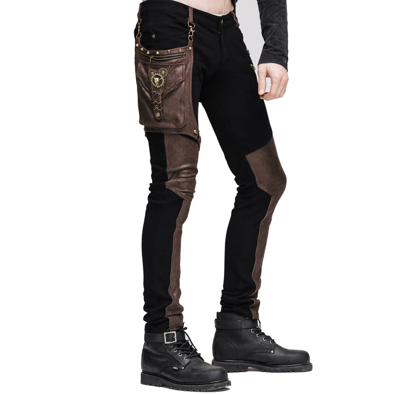 Conosciuto Steampunk Inverno Uomo Lungo Jean Pantaloni Gothic Vita Alta  CX77