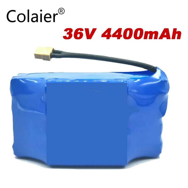 Paquet de batterie rechargeable de li-ion de Colaier 36 V 4400 mah 4.4AH ion de lithium pour le monocycle électrique de hoverboard de scooter d'équilibre d'individu