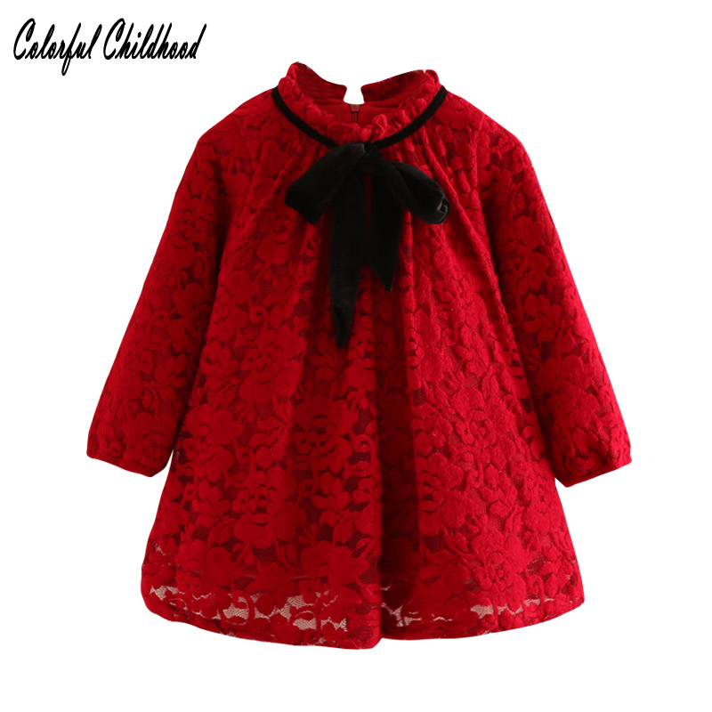 New Year Princess Dress Lovely Girls Long sleeve Red Christmas Dresses Baby Girl thick Lace vestido Cotton Baby Xmas  clothes toddlers girls dots deer pleated cotton dress long sleeve dresses