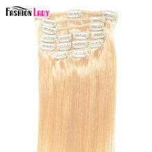 seamless clip in human hair extensions blonde brown 1B# color(China)