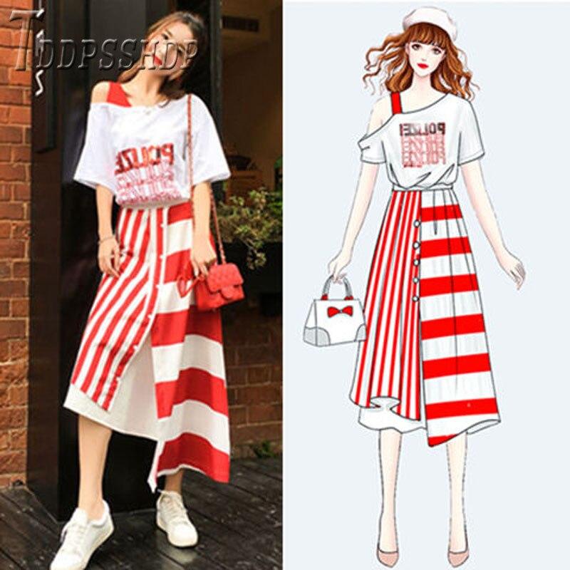 2019 Spring Summer Women 2 Pieces Set Expose Shoulder T Shirt And Irregular Stripes Skirts Female Clothing Sets