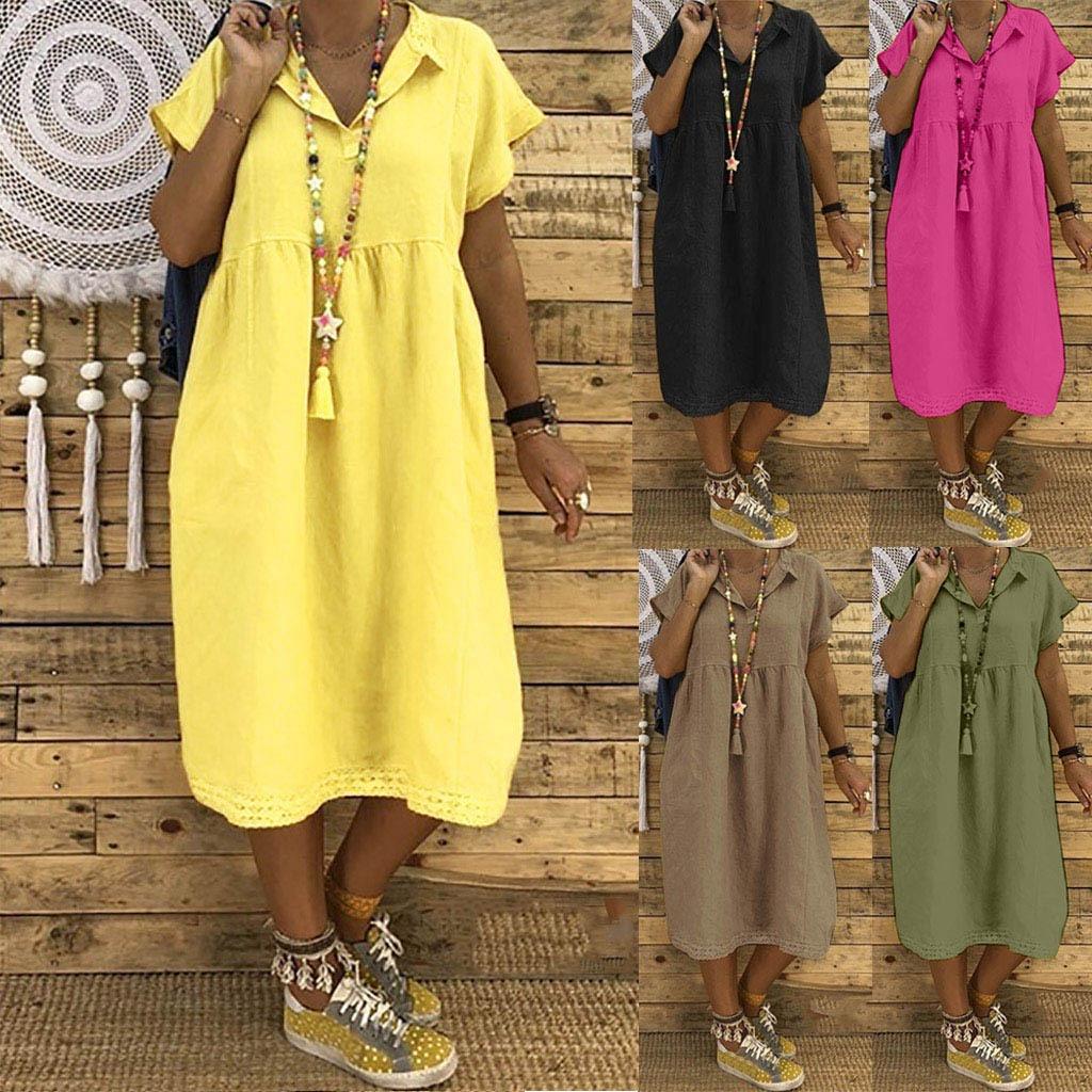 Women Summer Style Feminino Vestido T-shirt Cotton Casual Plus Size Ladies Dress Casual Linen Dress