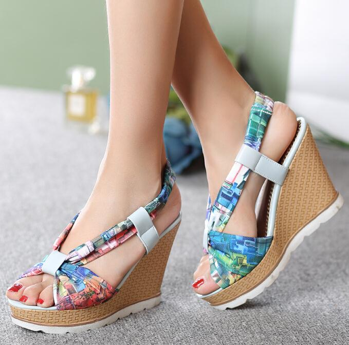 f1582306b18a ANMAIRON Bohemia Beaded Colorful Ankle Strappy High Heels Summer Shoes Sexy  Wedge Sandals Open Toe Platform Sandals Women-in High Heels from Shoes on  ...