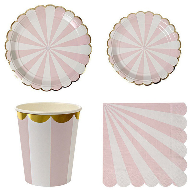 Gilding High-end Disposable Tableware Set Pink Striped Paper Plates Cups Napkins Party Wedding Carnival  sc 1 st  AliExpress.com & Gilding High end Disposable Tableware Set Pink Striped Paper Plates ...