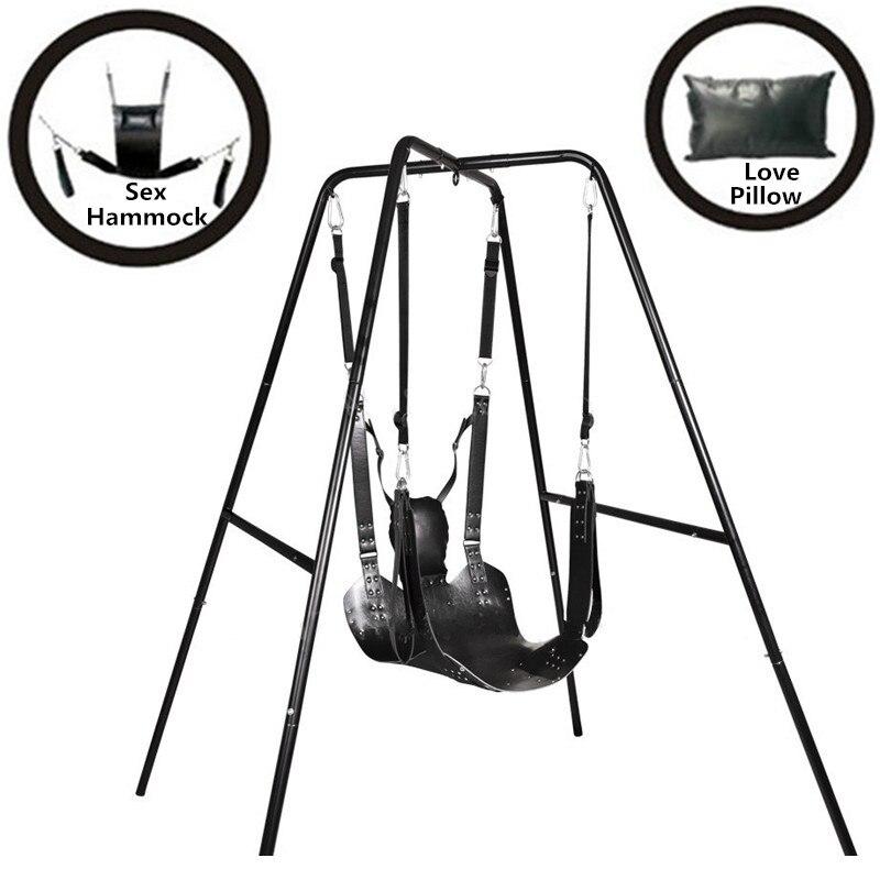 Nouveau cuir fronde fétiche BDSM Bondage sexe hamac balançoire chaise en cuir lit hamac et oreiller jouets sexuels pour Couples meubles sexuels