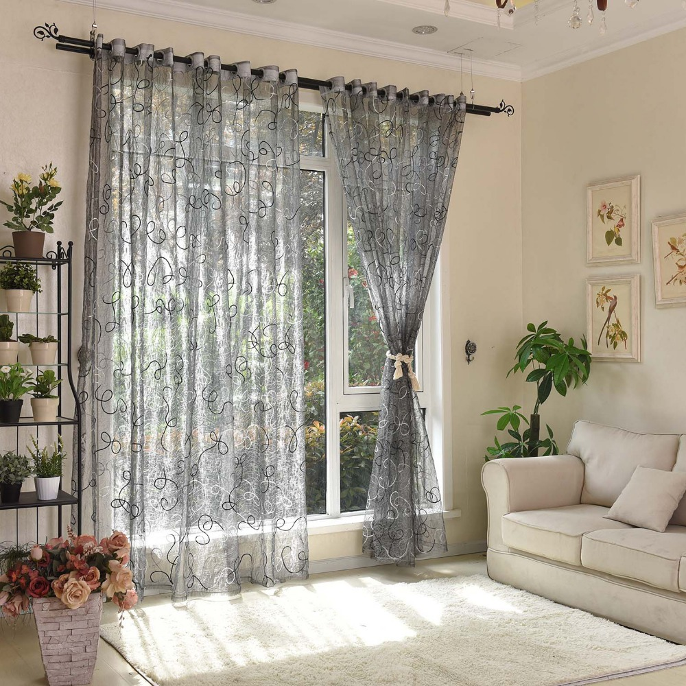 Fashion Stripe Rustic Curtain Yarn Bedroom Living Room: Embroider Window Curtain Living Room Window Curtains Tulle
