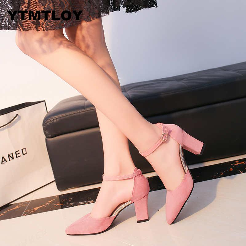 2019 Sandalia Feminina Summer New Wild High-heeled Shoes Pointed Word Buckle Sandals Rough With Women Single  Zapatillas Mujer