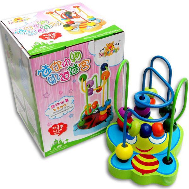 New 1PC New Children Kids Baby Colorful Wooden Mini Around Beads Educational Toy