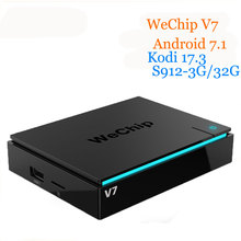 WeChip V7 android tv box 7.1 OS S912 Octa núcleo 3G + 32G 2.4G + 5 3gwifi + BT kodi 17.3 4 k PK h96pro 1000LAN HD Media Player + tv box