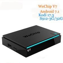 Wechip V7 Android TV Box 7.1 S912 Восьмиядерный 3 г + 32 г 64bit 2.4 г + 5 Gwifi + BT 4 К Коди 17.3 1000LAN 1080 P media player PK h96pro плюс