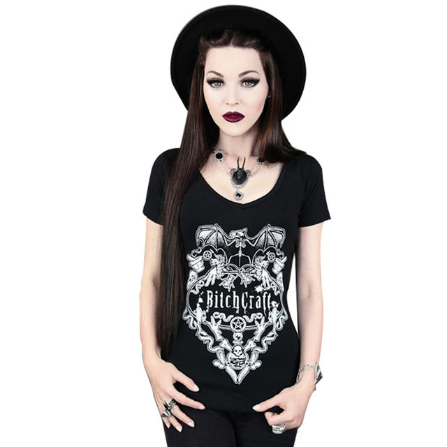 The New personality Punk Rock the wind printing elasticity T-shirt Short sleeve Creative Shirt Female O-neck T-shirts Top