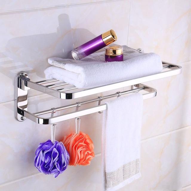 Stainless Steel Toilet Bathroom Washroom Towel Rack Soap Sponge Holder Wall Mounted Storage Hook Rod Rack Holder Hanging Bar