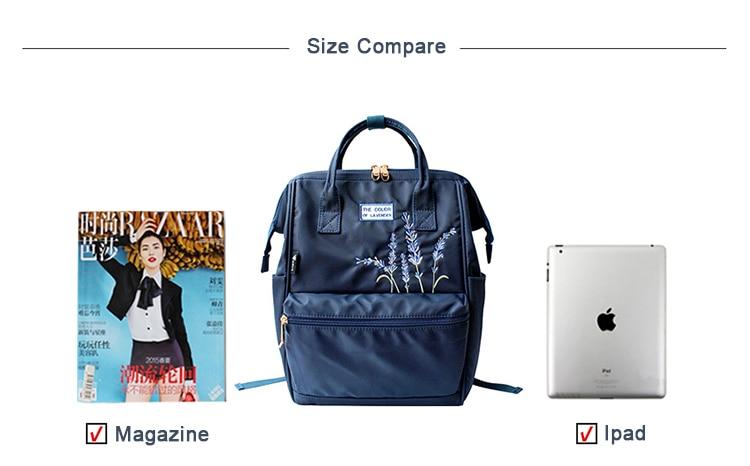 HTB10IubXG67gK0jSZFHq6y9jVXa5 Flower Princess Embroidery Nylon Women Backpack Water-resist Laptop Bag College Travel Bagpack for Girl Daypack Mochila Feminina