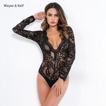 Spring Sexy Lace Pattern Hollow Out Perspective Bodysuit Women 2019 Deep V-neck Long Sleeve