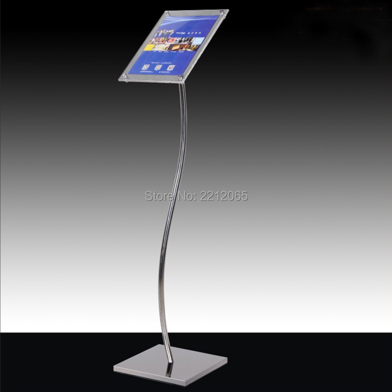 A4 Floor Standing Curved Post Menu Sign Poster Holder Display Stand with Acrylic Picture Signage Frames