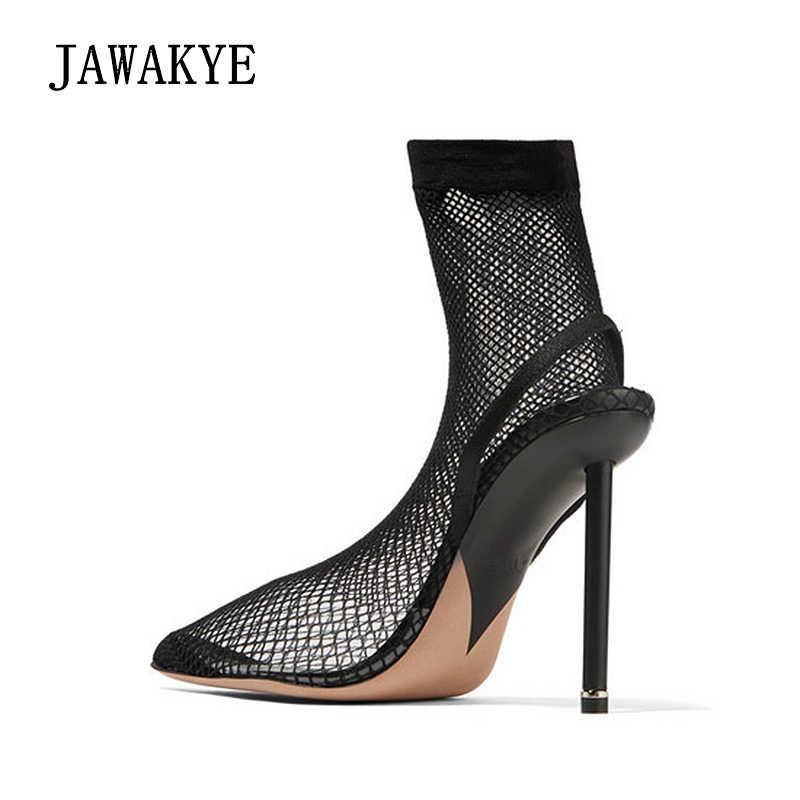 Çakmak Ilham süper Yüksek Topuklu Elastik yarım çizmeler Kadınlar için yaz sandalet hava örgü net pvc Diz Üzerinde çorap Ayakkabı kadın