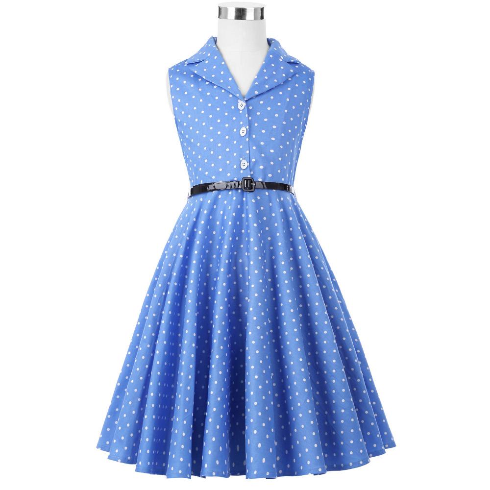 Grace Karin Flower Girl Dresses for Weddings 2017 Sleeveless Polka Dots Printed Vintage Pin Up Style Children's Clothing 21