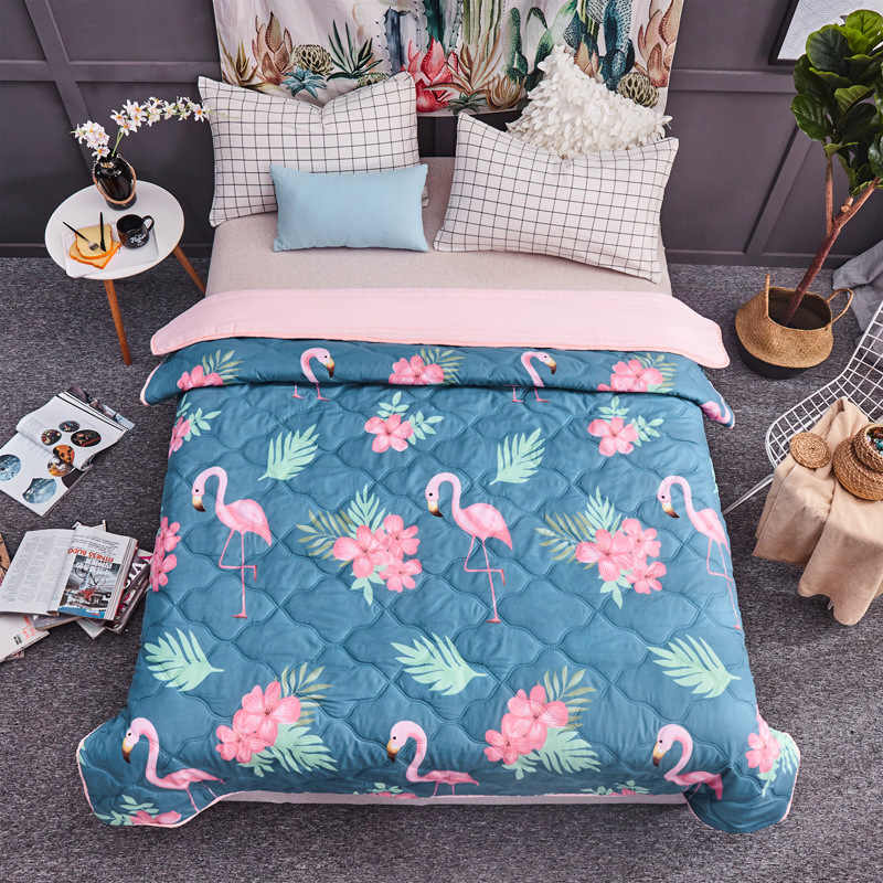 200x230cm Pink Flamingo Print Bed Covers Comfortable 2018 Soft King Size Plaid Blankets for Adult Bedding Quilt New Home Textile