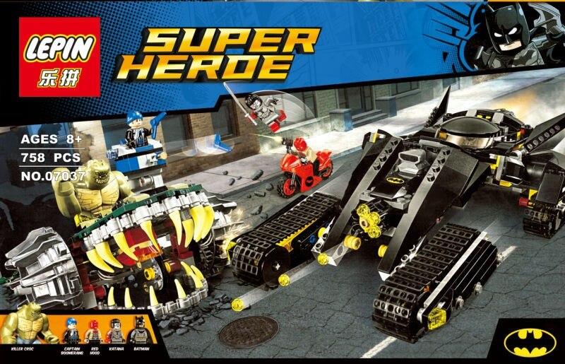 NEW LEPIN 07037 758Pcs Avenger Superheroes Batman Killer Croc Sewer Smash Model Building Kits Minifigure Blocks