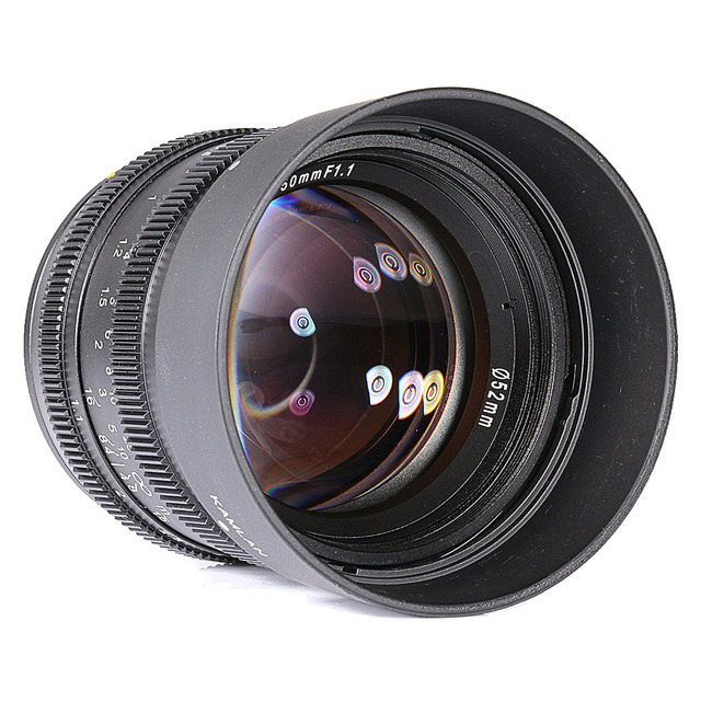 Kamlan 50mm F1.1 APS-C Large Aperture Manual Focus Lens for Canon Mirrorless Camera Lens for Sony Nex E Mount with Lens Hood