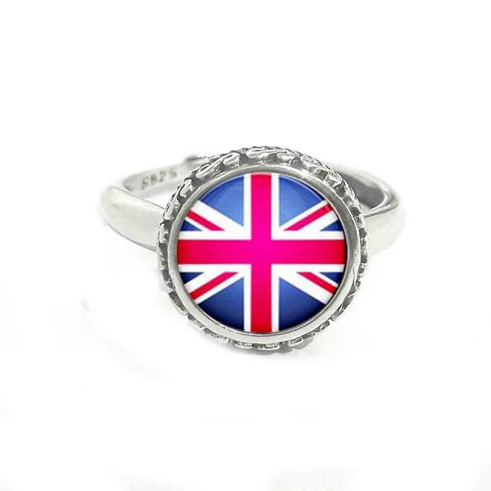 Vintage Real Solid 925 Sterling Silver Ring Uk National Flag Ring Fashion Flag Jewelry Choker Adjustable For Women Charm 2018 Rings Aliexpress